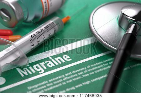 Diagnosis - Migraine. Medical Concept.