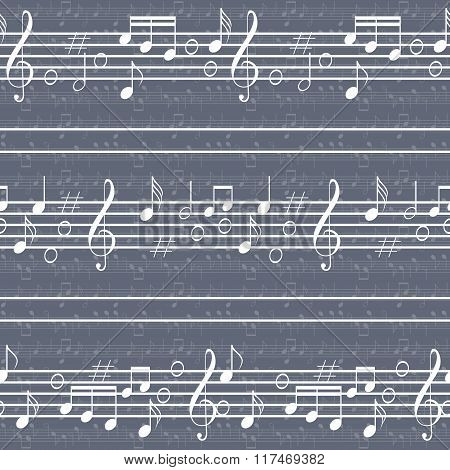 Seamless Music Pattern With Staff And Notes