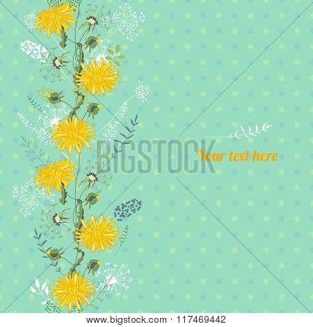 Floral spring template with cute bunches of bluebells. For romantic design, announcements, greeting cards, posters, advertisement.