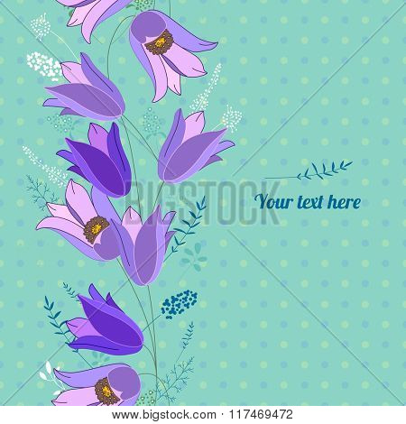 Floral spring template with cute bunches of bluebells. For romantic and easter design, announcements, greeting cards, posters, advertisement.