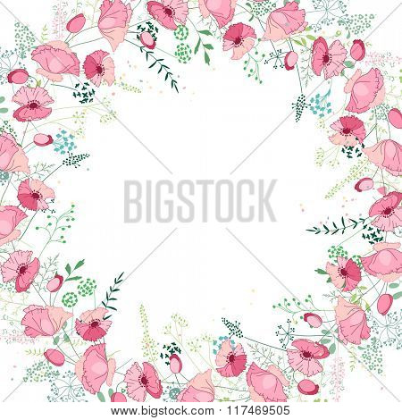 Floral abstract square template with stylized herbs and pink poppies.  Silhouette of plants.