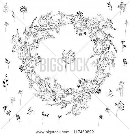 Round frame with contour tulips on white.Flowers for romantic design, decoration,  greeting cards, posters, wedding invitations, advertisement.