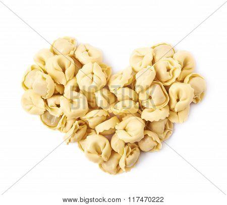 Heart shape made of ravioli