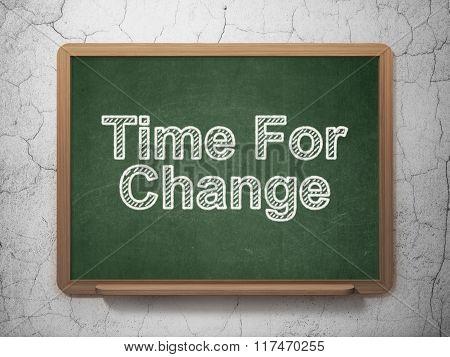 Timeline concept: Time For Change on chalkboard background