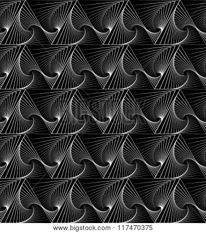 Abstract Repeatable Monochrome Pattern With Spiral Triangles
