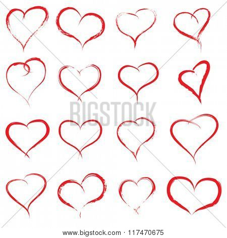 Vector concept or conceptual painted red heart shape or love symbol set or collection, made by a happy child at school isolated on white background