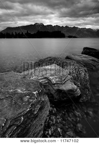 Rock, lake and mountain