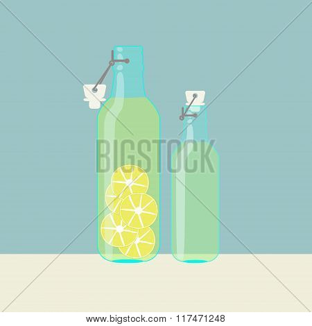 Fresh Homemade Lemonade In Vintage Bottles