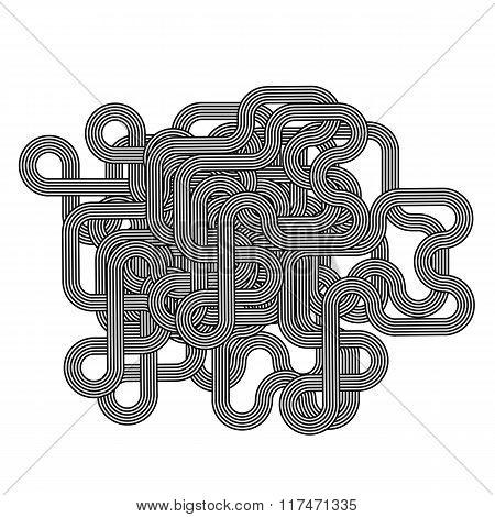 Black White Striped Line Symbol