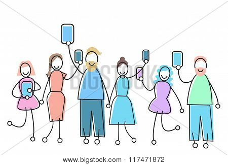 People Group With Gadget Social Network Communication Concept
