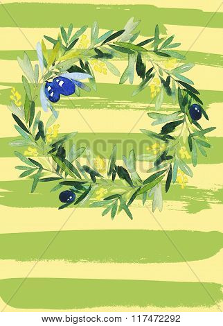 Olive Wreath Watercolor.