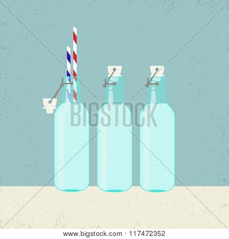 Fresh Milk In Vintage Bottles