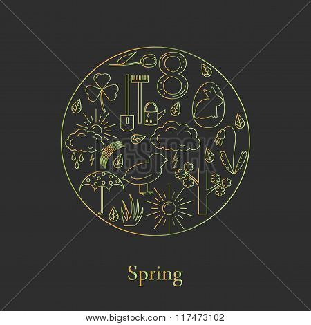 Symbols of spring in the style of line, located in the circle.