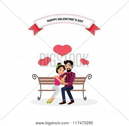Happy Valentine Day Couple Sitting on Bench