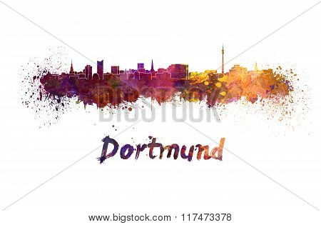 Dortmund Skyline In Watercolor
