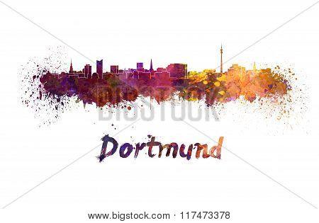 Dortmund Skyline In Watercolor