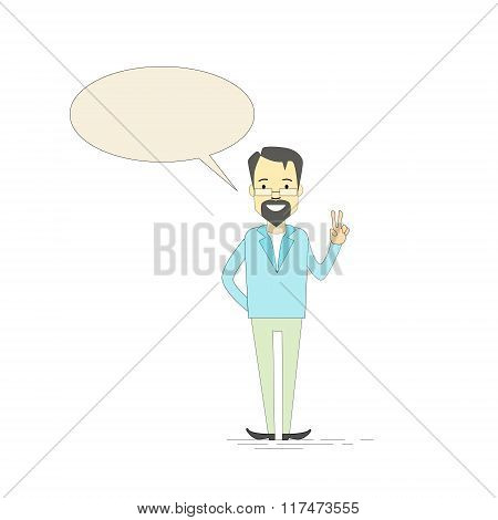 Man Hipster Hand Point Two Finger Up Peace Gesture Empty Chat Box