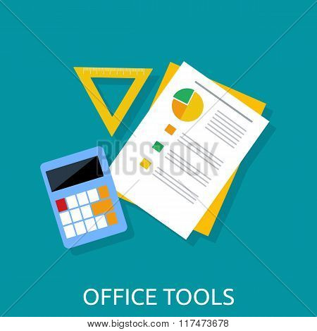 Calculator, Ruler and Paper. Office Tools