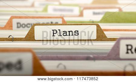 Plans Concept. Folders in Catalog.