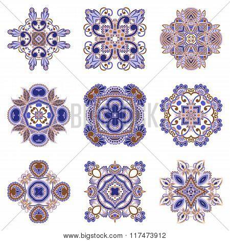 Vector Set Of Floral Decorative Elements.