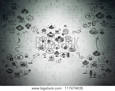 Digital background: Digital Paper with  Hand Drawn Cloud Technology Icons
