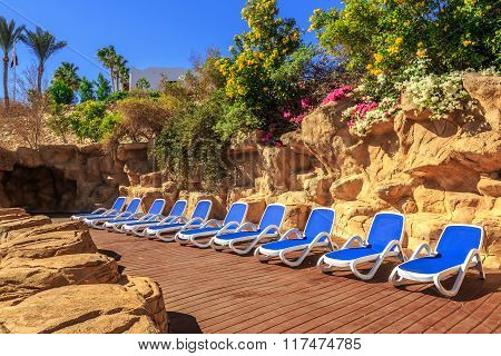 Several of sun loungers by a beautiful swimming pool.