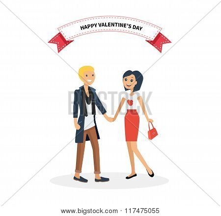 Happy Valentine Day Couple. Man Give Flower Woman