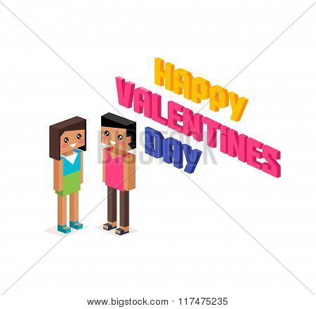 Happy Valentine Day Couple 3d Isometric