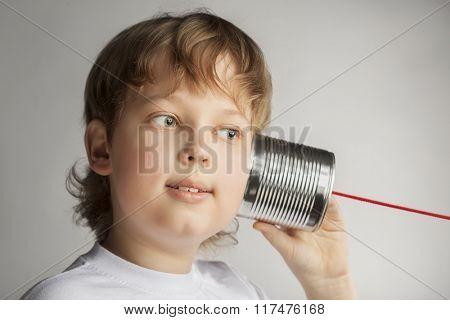 beauty boy listen tin can telephone