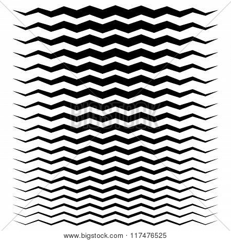Wavy, Zigzag Lines From Thick To Thin Graphic Elements