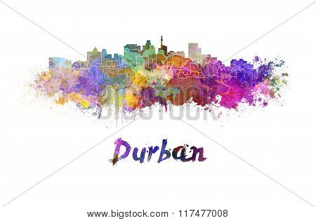 Durban Skyline In Watercolor
