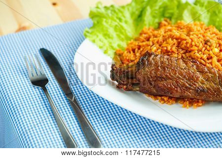 Delicious Dish Of Turkey Meat With Rice And Lettuce