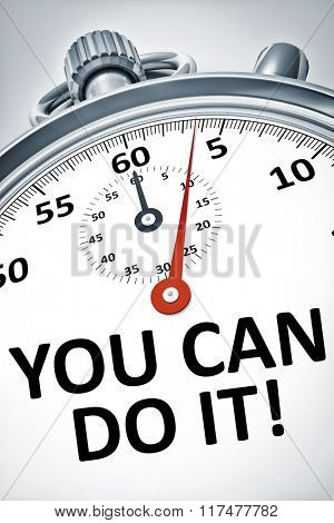 An image of a stopwatch with text you can do it