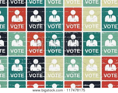 Politics concept: Ballot icons on wall background