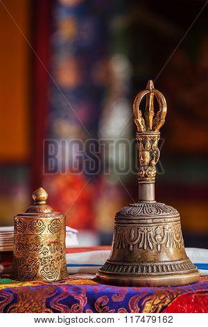 Religious bell in Spituk Gompa (Tibetan Buddhist monastery). Ladakh, India