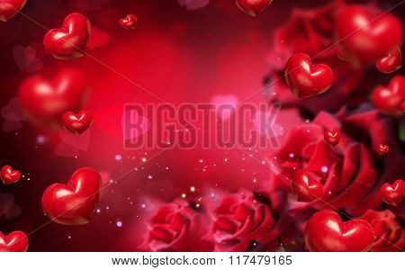 Valentine Background with red hearts and roses. Valentines Red Abstract Wallpaper with flowers border. Romantic Love Backdrop Collage. Valentine's day
