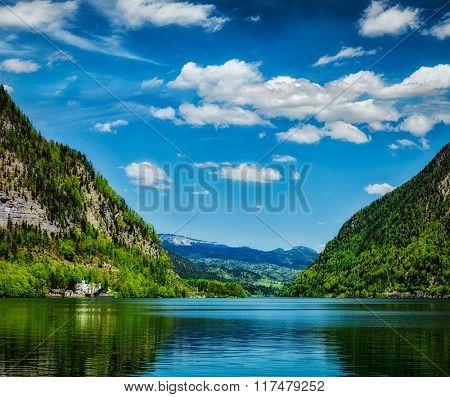 Hallst�¤tter See mountain lake in Austria. Salzkammergut region, Austria