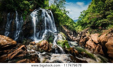 Panorama image of waterfal near Cat Cat Village near (Sapa) Sa Pa, Vietnam - popular tourist trekking destination