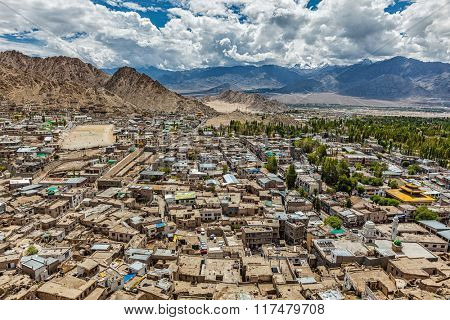 View of Leh from above. Ladakh, Jammu and Kashmir, India