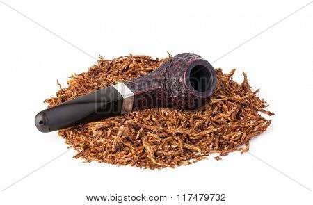 Smoking pipe and tobacco isolated on white