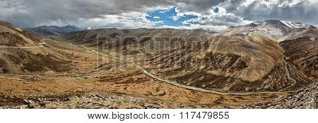 Panorama of landscape near Tanglang la Pass  - mountain pass in Himalayas along the Leh-Manali highway. Ladakh, Jammu and Kashmir, India