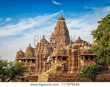 Famous Indian tourist landmark - Kandariya Mahadev Temple, Khajuraho, India. Unesco World Heritage Site