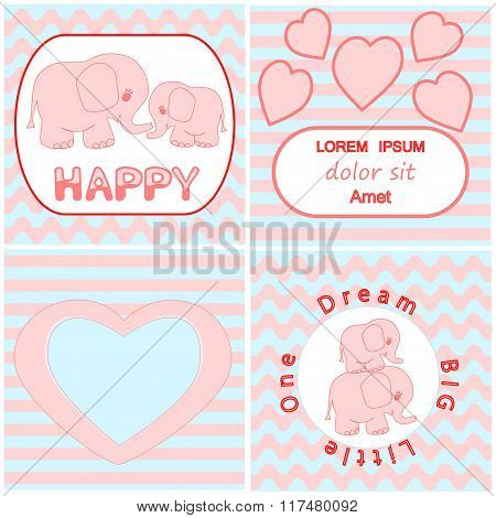 Baby shower invitation card set including Cartoon pink baby elephant card, Heart and wavy stripes ba