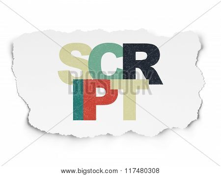 Programming concept: Script on Torn Paper background