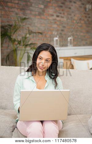 Smiling brunette using laptop on the sofa