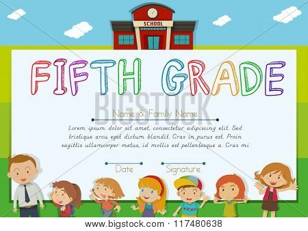 Fifth grade diploma with teachers and kids