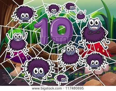 Ten spiders around number ten