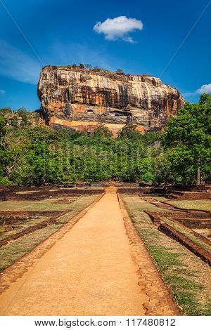 Famous tourist landmark - ancient Sigiriya rock, Sri Lanka