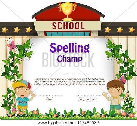Diploma template with boys in garden illustration