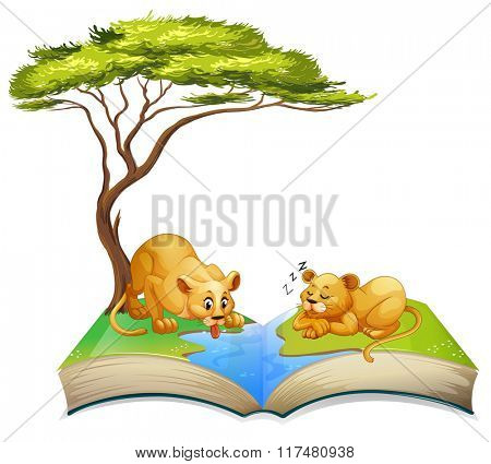 Book of lions living by the river illustration